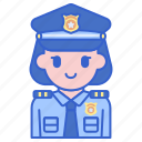justice, law, policewoman icon