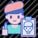 artist, justice, sketch icon