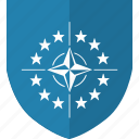 army, label, nato, security, shield, world icon