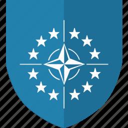 army, label, nato, security, shield, world icon