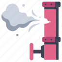 construction, gas, industry, leak, pipe, pollution, valve icon