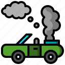 broken, car, damage, engine, motor, smoke, transport, transportation icon