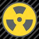 hazard, ionizing radiation, pollution, sign, wave icon