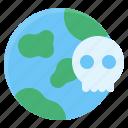earth, globe, pollution, skull icon