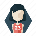 avatar, girl, haired, poligon, profile, shirt, sport icon