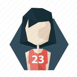 avatar, girl, haired, poligon, profile, shirt, sport icon