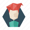 avatar, hairstile, poligon, profile, red, user, woman icon