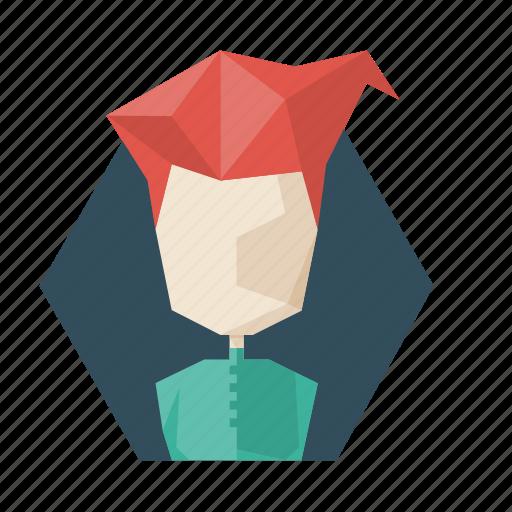avatar, hairstile, poligon, profile, red, user, woman icon