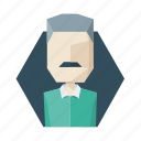 avatar, gray, mustache, profile, shirt, sweater, user icon