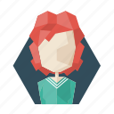 avatar, avatars, lady, poligon, profile, redhead, woman icon