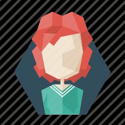 avatar, avatars, lady, poligon, profile, redhead, woman icon