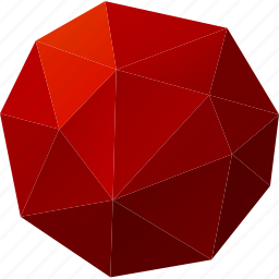 abstract, basic, button, circle, dot, low-poly, polygonal, red icon