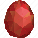 abstract, easter, egg, low-poly, polygonal, red, triangle icon