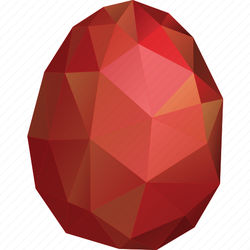 Abstract Easter Egg Low Poly Polygonal Red Triangle Icon