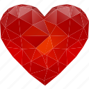 abstract, bookmark, favorites, feeling, health, healthcare, healthy, heart, love, low-poly, medical, polygonal, red, triangle, valentine's day icon