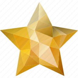 abstract, achievement, award, bookmark, favorite, favorites, golden, low-poly, polygonal, premium, prize, star, triangle, winner, yellow icon
