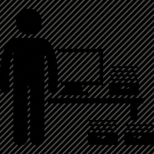 clerk, computer, data entry, documents, encoder, paper, typist icon