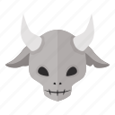 deer, devil, evil, halloween, horned, horror, skull icon