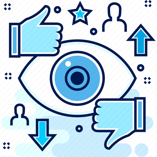 eye, negative, positive, review, thumbsup, view icon