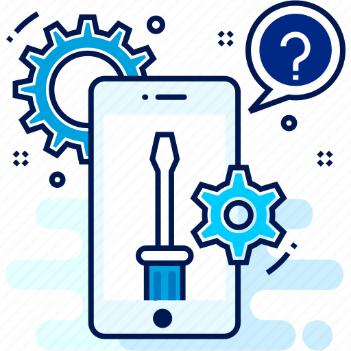 information, mark, mobile, question, repair, settings icon