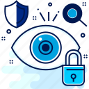 antivirus, eye, lock, review, secure, security icon