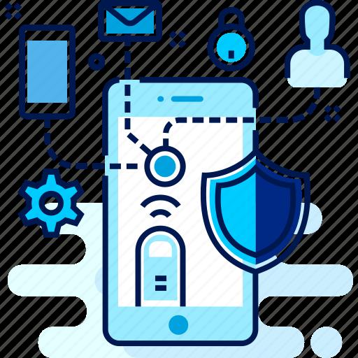 antivirus, media, mobile, setting, social icon