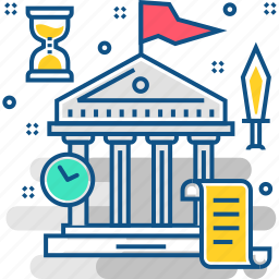bank, building, event, history, past, timer icon