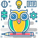 education, graduation, knowledge, learning, owl, university, wisdom icon
