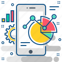 mobile, pie, digram, diagram, phone, statistics, analytics