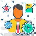analysis, business, employee, favorite, graph, growth, star icon