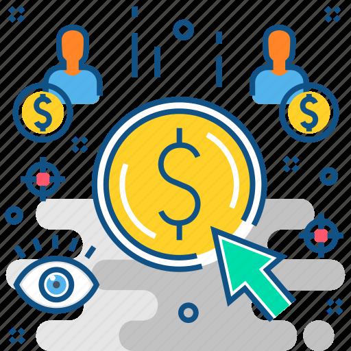 cash, money, online, pay per click, payment, ppc icon
