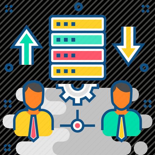 data, database, hosting, server, storage, transfer, users icon