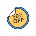 discount, fifty percent off, sale, sticker icon