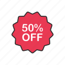 discount, fifty percent off, sale, shopping icon
