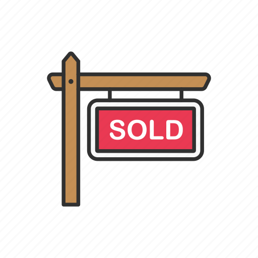 house sold, sell, sold, sold sign icon