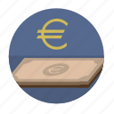 banknote, euro, money, round, sigh icon