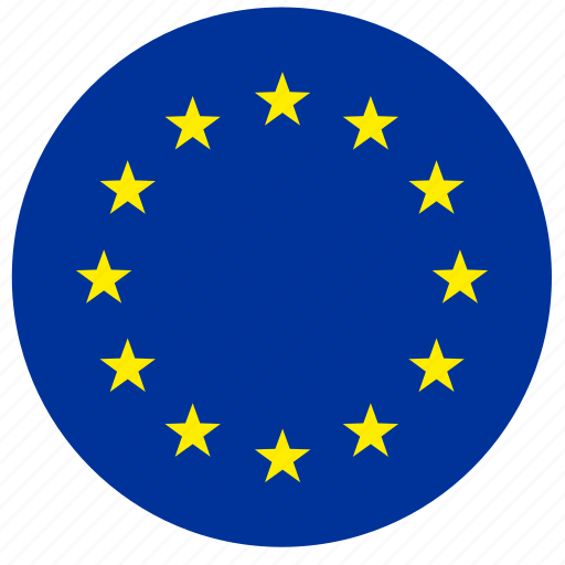 euro, europe, flag, round, stars icon