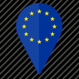 country, euro, europe, location, pointer icon