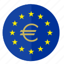 euro, europe, flag, money, round icon