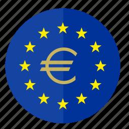 euro, europe, flag, money, round icon