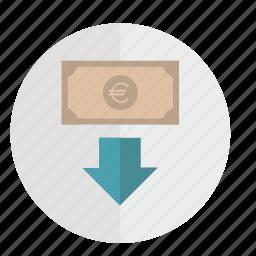 banknote, down, euro, motion, round icon