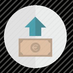 arrow, banknote, euro, money, top, up icon