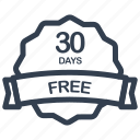 days, free, guarantee, label icon