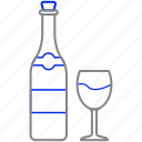 bottle, glass, wine icon