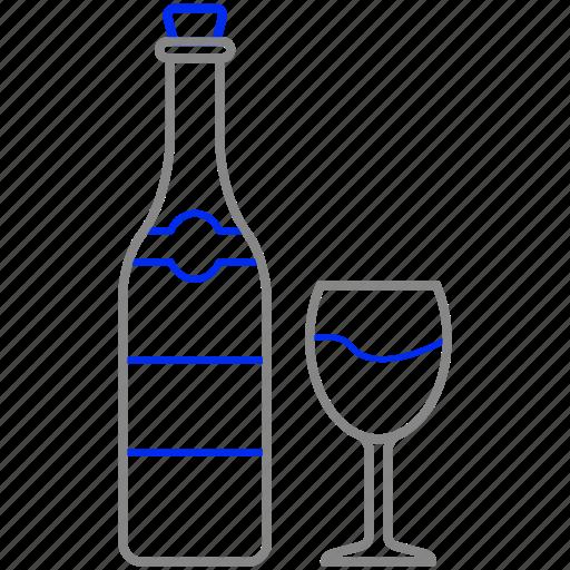 bottle, glass, wine icon