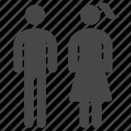 citizen, couple, man, people, population, toilet, woman icon