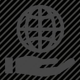 care, earth, globe, hand, international, population, world icon
