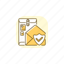 cargo insurance, cargo insurance icon, postal service, mail delivery icon