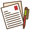 author, content, letter, notebook, work, writer, writing icon