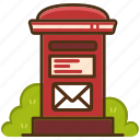 envelope, letter, mail, mailbox, postal, postbox, service icon